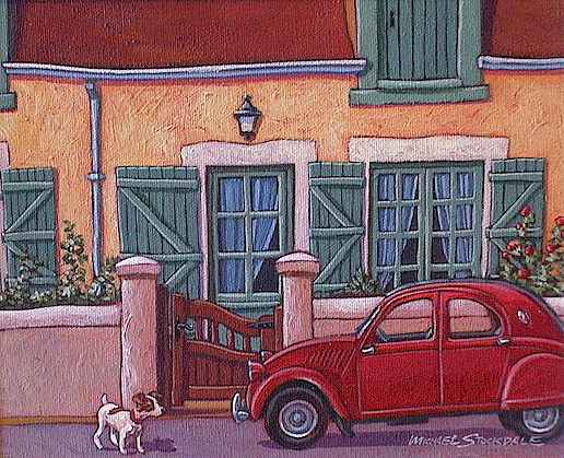 "SOLD ""Little Red Citroen"" 8 x 10 - acrylic $395 Framed"