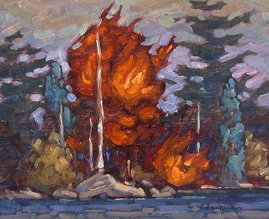 "SOLD ""Long Lake"" Bursts of colour from shoreline trees 8 x 10 - oil $435 Framed"