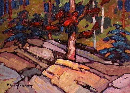 "SOLD ""Maple"" A hardy tree growing from rock 5 x 7 - oil $365 Framed"