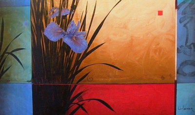 "SOLD ""Meditation Garden"" 24 x 40 - acrylic $3100 Framed"