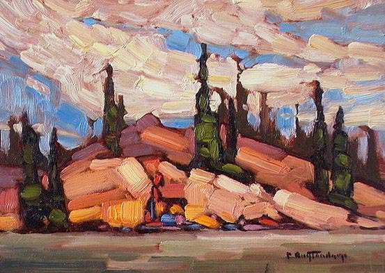 "SOLD ""Midsummer"" My depiction of a warm, content summer's view 5 x 7 - oil $365 Framed"