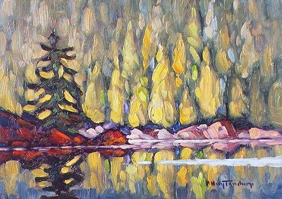 "SOLD ""Morning Shore"" Close to camp on Stave Lake 5 x 7 - oil $365 Framed"