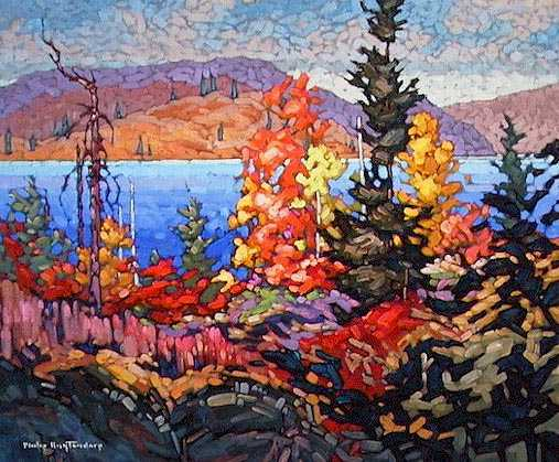 """SOLD """"October Pattern"""" An illustration of colour variety in Algonquin. The design is my own 20 x 24 - oil $1160 Framed"""