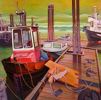 "SOLD ""On the Dock, Queen Charlotte City"" 48 x 48 - oil $3375 (canvas wrap without frame)"