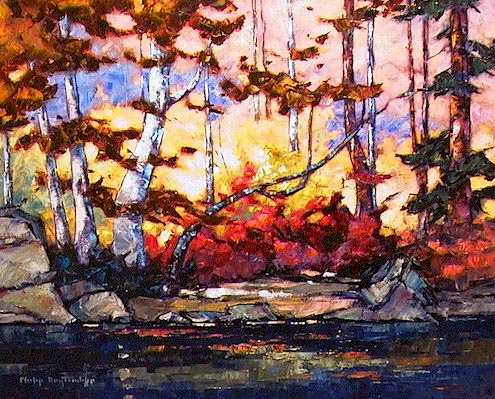 "SOLD ""On the Oxtongue"" A small portion of shore on the river draining Oxtongue Lake 16 x 20 - oil $935 Framed"
