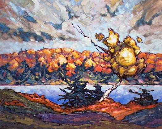 "SOLD ""Oxtongue Lake"" A view from the cabin we rented 16 x 20 - oil $935 Framed"