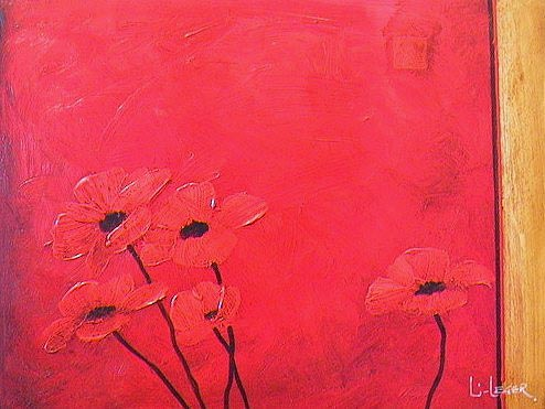 "SOLD ""Poppies in Red"" 12 x 16 - acrylic $1100 Framed"