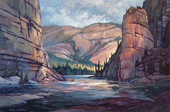 "SOLD ""Pulpit Rock"" This well-known structure is located on the South Nahanni River near Fort Liard in the Northwest Territories 24 x 36 - oil $1580 Framed"