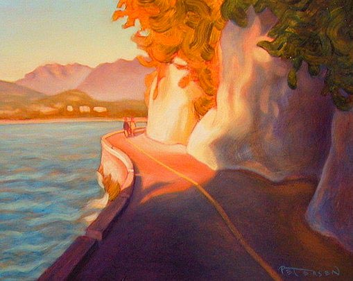 "SOLD ""Rounding the Bend, Stanley Park Seawall, Vancouver"" 8 x 10 - oil $475 Framed"