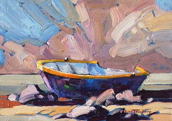 "SOLD ""Round Nosed Skiff"" Not a rich man's tender, but jaunty nonetheless 5 x 7 - oil $365 Framed"