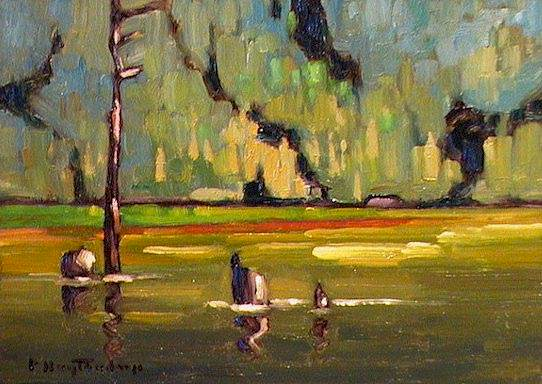 "SOLD ""Stave Lake Greens"" The emerald green of water echoed on a distant hillside 5 x 7 - oil $365 Framed"