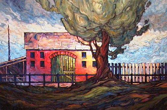 "SOLD ""Sunlit Fence"" A horse barn, maintained, but not used 24 x 36 - oil $1580 Framed"