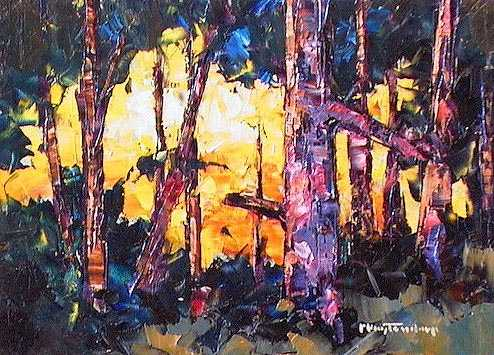 "SOLD ""Thickly Wooded"" A study of light and shadow among the trees 5 x 7 - oil $365 Framed"