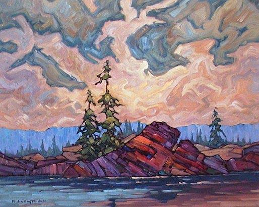 "SOLD ""A Touch of Red"" Natural masonry with high iron content 16 x 20 - oil $935 Framed"