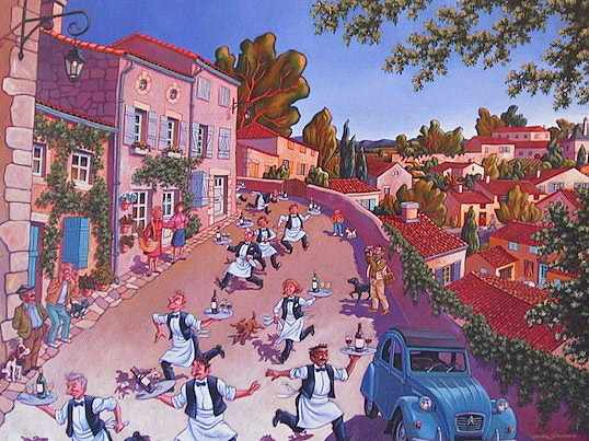 "SOLD ""Vintage Racing in Saint-Emilion"" 30 x 40 - acrylic $2150 Framed"