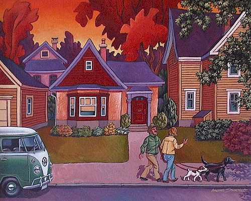 "SOLD ""Walking the Dogs"" 16 x 20 - acrylic $760 Framed"