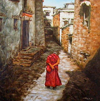 "SOLD ""Wandering the Monastery"" 24 x 24 - oil $2700 Framed"