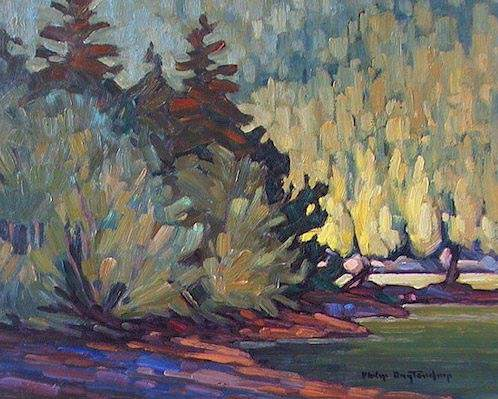 "SOLD ""West of Camp"" Sunlight at an angle. A study in shape and light 8 x 10 - oil $435 Framed"