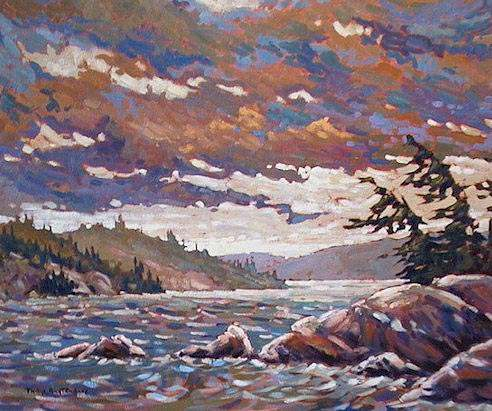 """SOLD """"Wet Winds"""" The clouds were being blown clear after a downpour on the lake 20 x 24 - oil $1160 Framed"""