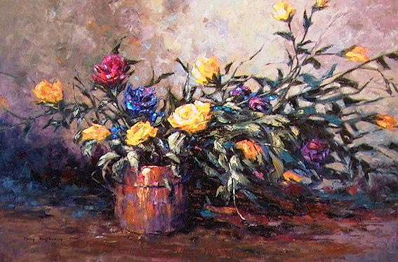 "SOLD ""Yellow Roses"" A rare attempt for me 24 x 36 - oil $1580 Framed"