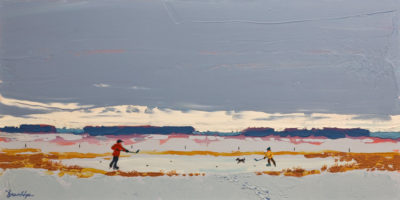 """Cold Morning Lesson,"" by Bill Brownridge 15 x 30 - acrylic $4100 (thick canvas wrap without frame)"