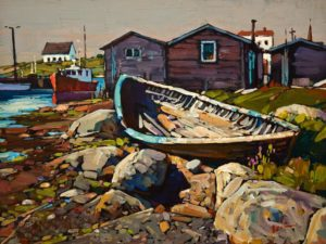 "SOLD ""Abandoned Boat, Nova Scotia,"" by Min Ma 9 x 12 - acrylic $980 Unframed $1240 in show frame"