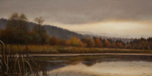 "SOLD ""Autumn Atmosphere,"" by Ray Ward 6 x 12 - oil $785 Unframed $1000 in show frame"