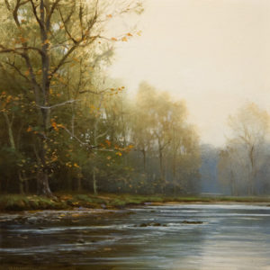 "SOLD ""Autumn Riffle,"" by Renato Muccillo 6 x 6 - oil $1400 in show frame"