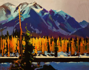 "SOLD ""Autumn Through Banff National Park,"" by Michael O'Toole 11 x 14 - acrylic $935 Unframed $1085 in show frame"