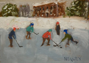 "SOLD ""Behind the School,"" by Paul Healey 5 x 7 - oil $275 Unframed $450 in show frame"
