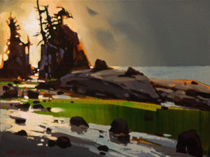 "SOLD ""Breaklight On Shore,"" by Michael O'Toole 9 x 12 - acrylic $710 Unframed $920 in show frame"