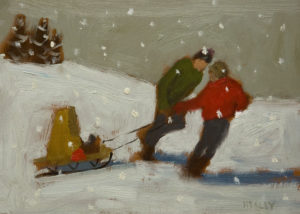 "SOLD ""Brothers,"" by Paul Healey 5 x 7 - oil $275 Unframed $450 in show frame"