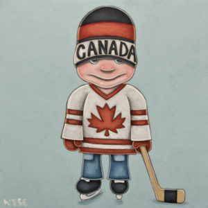 "SOLD ""Canada Boy,"" by Peter Wyse 12 x 12 - acrylic $800 (panel with 1 1/2"" edging) $900 in show frame"