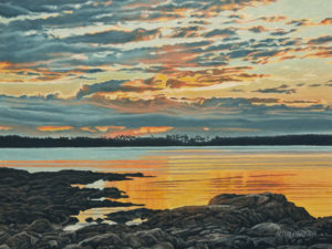 "SOLD ""Cattle Point Dawn,"" by Ron Parker 9 x 12 - oil $1350 Unframed $1600 in show frame"