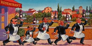"SOLD ""The Charge of the Wine Brigade,"" by Michael Stockdale 6 x 12 - acrylic $370 Unframed $470 in show frame"