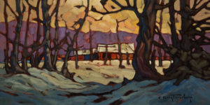 "SOLD ""Chilcotin Sheds,"" by Phil Buytendorp 8 x 16 - oil $800 Unframed $1050 in show frame"