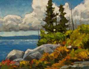 "SOLD ""Coastal Summer Day,"" by Graeme Shaw 6 x 8 - acrylic $435 Unframed $620 in show frame"