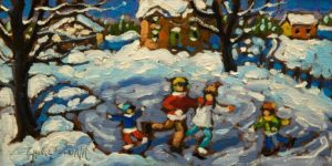 "SOLD ""Family Fun,"" by Rod Charlesworth 4 x 8 - oil $475 Unframed $600 in show frame"