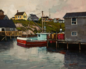 "SOLD ""The Fish Wharf, Nova Scotia,"" by Min Ma 8 x 10 - acrylic $770 Unframed $1030 in show frame"