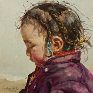 "SOLD ""Girl in Purple,"" by Donna Zhang 12 x 12 - oil $1220 Unframed $1600 in show frame"