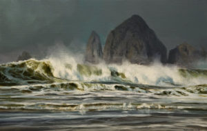 "SOLD ""Haystack Rock,"" by Renato Muccillo 7 x 11 - oil $2370 in show frame"