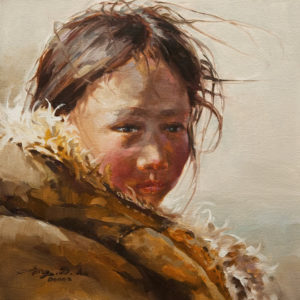 "SOLD ""Hugged by the Warm Coat,"" by Donna Zhang 12 x 12 - oil $1220 Unframed $1600 in show frame"