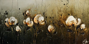 "SOLD ""In the Golden Morning Dew,"" by Laura Harris 10 x 20 - acrylic $1350 Unframed $1520 in show frame"