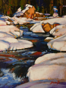 "SOLD ""Kicking Horse River,"" by Mike Svob 9 x 12 - acrylic $795 Unframed $1020 in show frame"