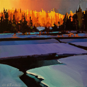 "SOLD ""Last Breaklight on Gold Larches,"" by Michael O'Toole 10 x 10 - acrylic $685 Unframed $880 in show frame"