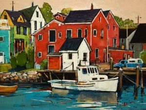 "SOLD ""Lunenberg Waterfront, Nova Scotia,"" by Min Ma 9 x 12 - acrylic $980 Unframed $1240 in show frame"