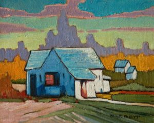 "SOLD ""Maple Ridge Abode,"" by Nicholas Bott 8 x 10 - oil $1040 Unframed $1280 in show frame"