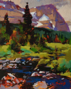 "SOLD ""Mount Odaray,"" by Mike Svob 8 x 10 - acrylic $670 Unframed $870 in show frame"