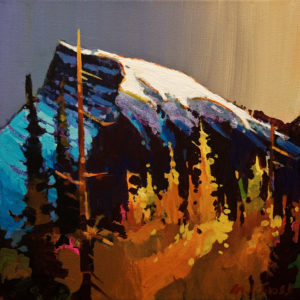 "SOLD ""Mt. Rundle After Storm,"" by Michael O'Toole 10 x 10 - acrylic $685 Unframed $815 in show frame"