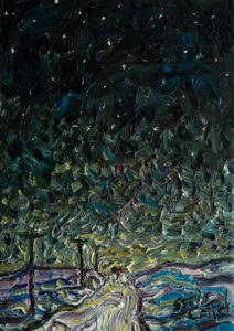 "SOLD ""The Night Drive in Snow,"" by Steve Coffey 5 x 7 - oil $480 Unframed $600 in show frame"